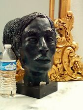 Mid Century Modern Life Size Carved Male Head Bust Signed Art Sculpture On Base