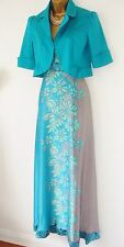 COAST DRESS AND JACKET SUIT12 SILK COCKTAIL FULLLENGTH AQUA GREEN SILVER FLORAL