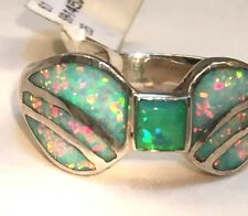 Art Deco Ladies Blue Fire Opal Ladies Ring 7 3/4 $225 Sterling Silver Brazilian
