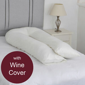U Shaped Body Support Pillow with FREE Wine Pillowcase Fibromyalgia Aid