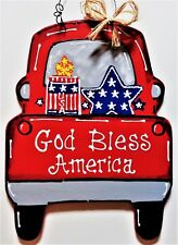 AMERICANA Vintage Style RED TRUCK 4th of July SIGN Wall Art Door Hanger Plaque