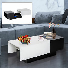 Modern Coffee Table Storage Unit with Sliding Top Black and White Living Room