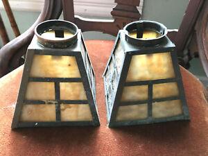 2 - Vintage Mission Arts Crafts slag Glass Hanging Light shades Pendant Garden