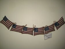 Patriotic fabric flags sewn into 20 in. garland handmade American Home Decor