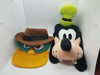 Custom Lot Of 2 Disney Parks Exclusive Hats, Youth, Goofy & Detective Duck Rare!