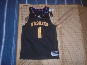 MENS LARGE BLACK ADIDAS NCAA WASHINGTON HUSKIES #1 BASKETBALL JERSEY - NWT