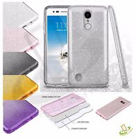 For LG Q7 / Q7+ Hybrid Bling Glitter Rubber Silicone Protective TPU Case Cover