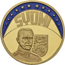 EUROPE ECU SERIES FINLAND SUOMI GILDED PROOF LIKE GILT MEDAL 1997 #ME239