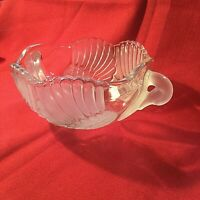 Vintage Frosted Mikasa Swan Crystal Glass Double Handle Bowl W. Germany