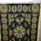 VTG Asian Woven Tapestry Throw Medallion Floral Black Gold Horse Soldiers Rider