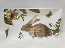 "Grace Tea Ware Easter Green Bunny Rabbit Tray Platter Plate 9.75"" x 5.75"""