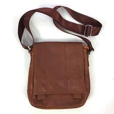 GIORGIO ARMANI Tan Brown Leather Crossbody Bag