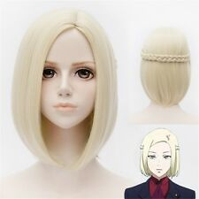 New Womens Lady Short Straight Hair Wig Full Cosplay Wigs Costume Golden Blond