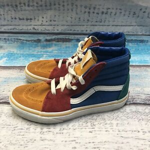 Vans 721356 Canvas Hi Top Red Blue Orange SK8 Shoes Sneakers Size 2.5 kids