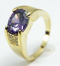 Men's Gold Filled Purple Crystal Ring UK Size V