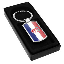 Croatia Flag Metal Keyring 050