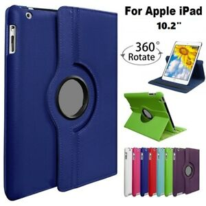 """For Apple iPad 10.2"""" 2020 /2019 360° Rotating Leather stand smart Case Cover"""