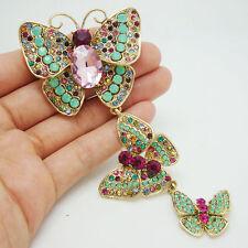 Vintage Luxurious 3 Butterfly Art Nouveau Pendant Brooch Pin Rhinestone Crystal