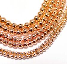 Hämatit glatte Kugeln eloxiert roségold 2 - 6 mm, 1 Strang #4350 BACATUS Perlen