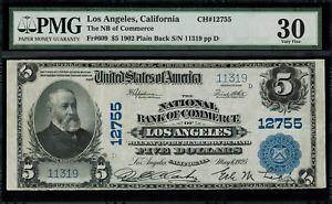 1902 $5 - Los Angeles, CA - Plain Back - FR.609 Charter 12755 - PMG 30 Comment