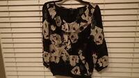 White House Black Market Womens Shirt Top Blouse Black Cream Silk Size Medium
