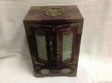 Vintage large Chinese Carved Wood Jewelry Box Jade Brass  scroll work