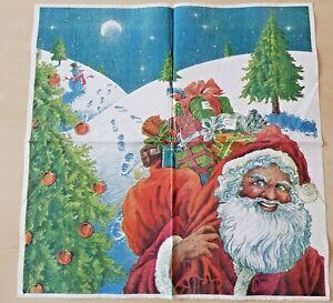1 Dinner Papier Serviette Napkin (2-No-19)  Nikolaus mit großen Sack im Schnee