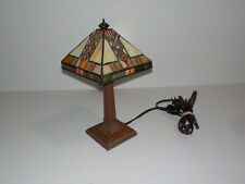"11"" Tiffany Style Stained Glass Lamp Small Table Desk Night Light-Leaded Shade"