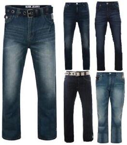 BIG Size KAM Mens Designer Straight Fit Regular Leg Denim Jeans King Waist Sizes
