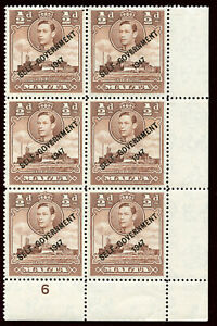 """Malta 1948 KGVI New Constitution ½d red-brown """"NT"""" JOINED var MNH. SG 235, 235a."""