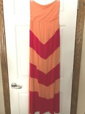 Strapless Maxi Dress Size M Pink Orange Chevron DESIGN HISTORY Long Full Beachy