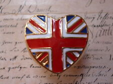 Quirky Kitsch UK Britain Heart London Union Jack Flag Gold Chunky Jewellery Ring