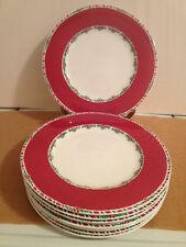 8 Fitz & Floyd Yuletide Holiday Dinner Plates Red & 2 Large Serving Platters