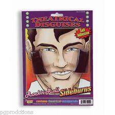 Black ELVIS SIDEBURNS Facial Hair Presley Rock & Roll N Costume Funny Chops Burn