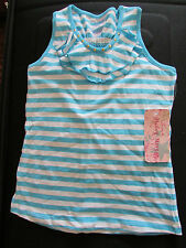 NEW HAILEY MORGAN M 10-12 WHITE/AQUA STRIPED SLEEVELESS GOLD STUDS,BACK BOW TOP