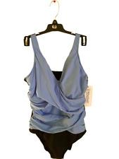 MIRACLESUIT One Piece BLUE & BLACK Color-Block Megan V Neck Swimsuit, Size 18