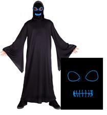 Grim Reaper Costume + Light Up EL Mask Mens Halloween Fancy Dress Outfit