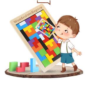 Wood Puzzle UK Baby Toddler Montessori Tetris Brain Teaser Game Kids Wooden Toy
