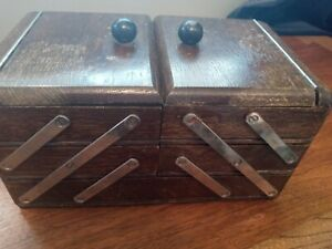 Vintage Wooden Fold Out Accordion Style Miniature Sewing Box