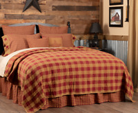 BURGUNDY CHECK QUILTED COVERLET-choose size & accessories-Primitive VHC Brands