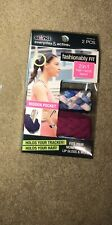 NEW! 2 Piece Scunci Fashionably Fit 2 in 1 Hair/Wrist Band Headband Blue Multi