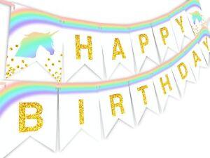 Unicorn Pastel Rainbow Happy Birthday Banner Pennant