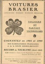 PUBLICITE AUTOMOBILES BRASIER TREFLE PERES CHARTREUX TARRAGONE VIN DESILES 1908