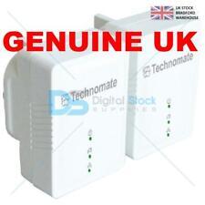 Technomate 600 Mbps AV2 Home Plug Power Line Adapter Starter Kit (Pack of 2) NEW