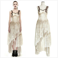 Punk-Rave Q-291 Cream Steampunk Gothic Victorian Lace Matching Long Gear Dress