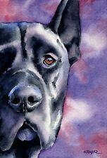 Black Great Dane Painting Dog 8 x 10 Art Print Signed by Artist Djr