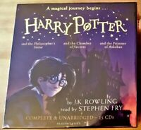 HARRY POTTER AUDIO BOOKS 1-3 J K ROWLING. STEPHEN FRY. UNABRIDGED 25 CD RRP £95