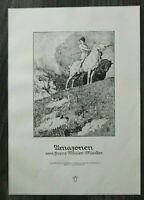 LPZ) Kunst Blatt nach Franz Müller Münster 1913 Amazonen Frauen Pferde 24x34cm