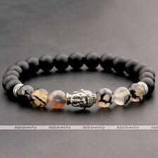 Men Women 8mm Silver Buddha Agate Stone Chakra Bead Buddhist Pray Mala Bracelet