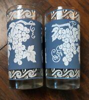 Vintage Jeanette Blue Grape & Leaf Drinking Glasses Set of Two, 12 oz.
